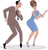 1960s couple dancing twist - 76582155