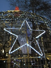 Christmas lights and shining star
