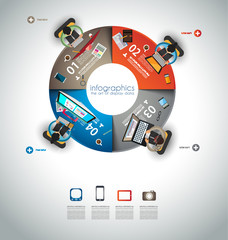 Infographic teamwork and brainstorming with Flat style.