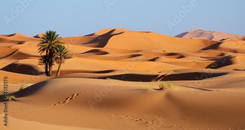 Poster Afrika Morocco. Sand dunes of Sahara desert