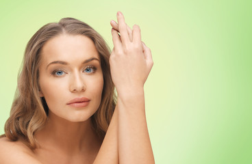beautiful woman face and hands