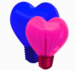 3D glass heart shape lamp