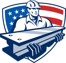 Construction Steel Worker I-Beam American Flag