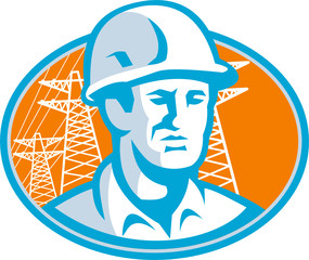 Construction Worker Engineer Pylons Retro