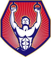 Crossfit Training Athlete Rings Retro