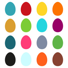 Collection of 16 simple colorful Easter eggs