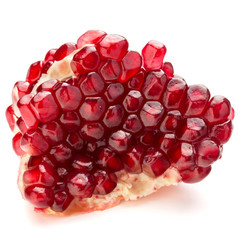 Ripe pomegranate fruit segment isolated on white background cuto
