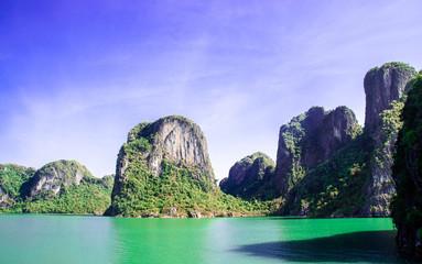 limestone cliffs in Halong bay Vietnam