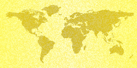 Map of the world, yellow abstract travel background