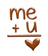 You and me, written with chocolate. 3D illustration.