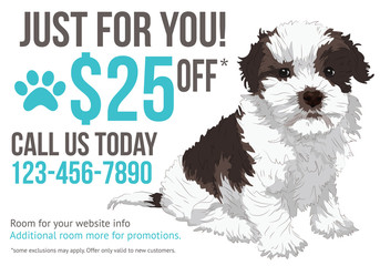 Dog grooming postcard advertisement with cute puppy and coupon
