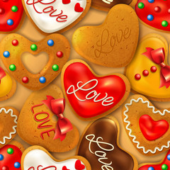 Seamless background with Happy Valentine's day cookies