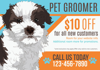 Cute puppy advertising pet grooming salon postcard with coupon