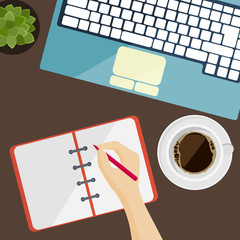 Part of keyboard, notepad and cup of coffee in flat design
