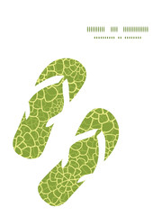 Vector abstract green natural texture flip flops silhouettes