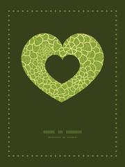 Vector abstract green natural texture heart symbol frame pattern