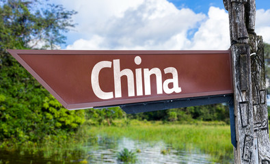 China wooden sign with a forest background