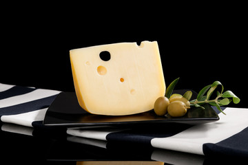 Emmental cheese still life.