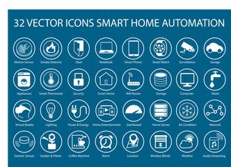Customizable vector icons for infographics smart home automation