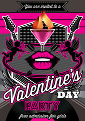Disco background for Valentine party poster