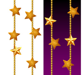 Set of shiny golden chains, decorated with stars, isolated
