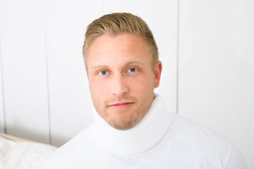 Man Wearing Cervical Collar