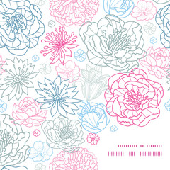 Vector gray and pink lineart florals frame corner pattern