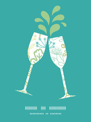 Vector mysterious green garden toasting wine glasses silhouettes