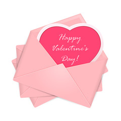 Pink envelopes with Valentines congratulations