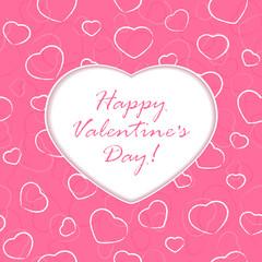 Valentines heart on pink background