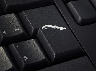 Keyboard with return key in the shape of Cuba.(series)