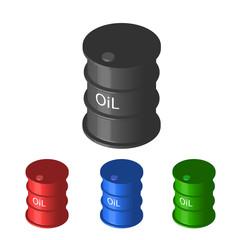 Set of colorful metal industrial barrel oil