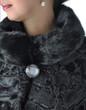 Leinwandbild Motiv Fragment of female fur coats black.