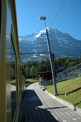 Small train station nearby Eiger mountain and Grindelwald.