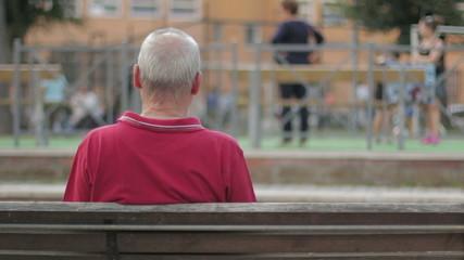Elderly man's on a bench, backfacing. In park