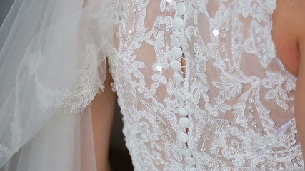 Buttoning on the bride's dress, the girl beautiful multicolored