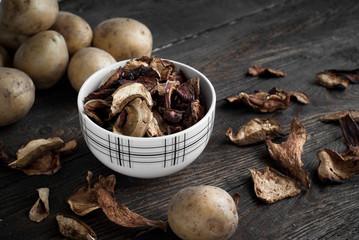 Porcini mushrooms and potato