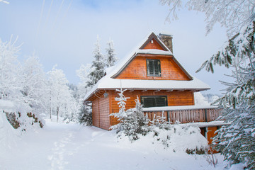 Mountain cottage in winter in the Beskids Mountains, Poland