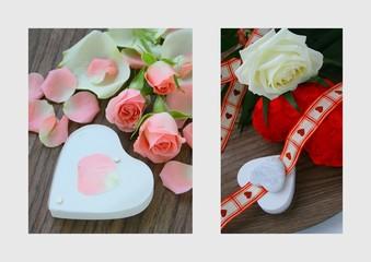 """montage florale """"carte de st valentin"""""""