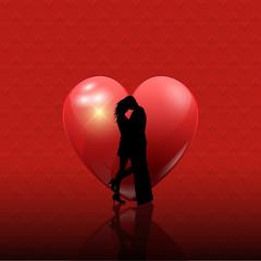 Valentine's couple on heart background