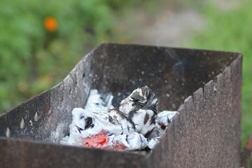 Горячие древесные угли в барбекю