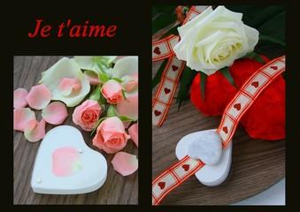"""composition""""saint valentin""""je t'aime,rose et coeur symoliques"""
