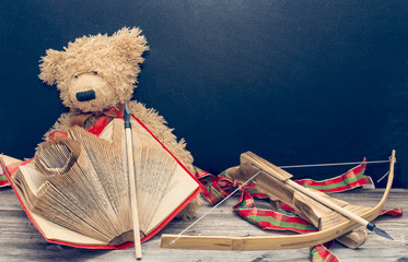 old bear with vintage old book and bow with arrow