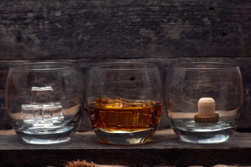Whiskey Bourbon in a Glass with Ice