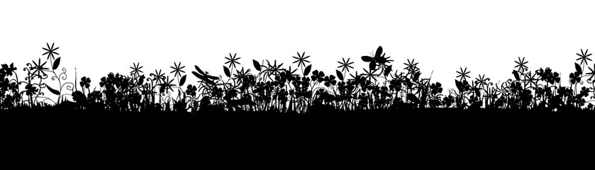 Meadow life - silhouette illustration