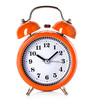 orange bell clock, alarm clock isolated on white background - 76593916