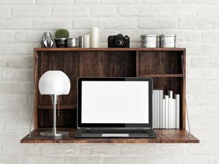 Work desk in loft office, 3d illustration