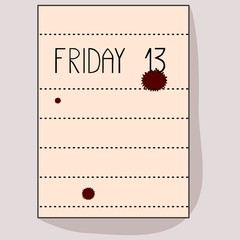 Sheet of notebook with the inscription Friday 13 and red spots