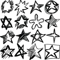 Star doodles, hand drawn  illustration