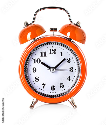 orange bell clock, alarm clock isolated on white background - 76593916